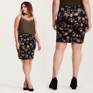 Torrid Dark Floral Print Velvet Mini Skirt 2